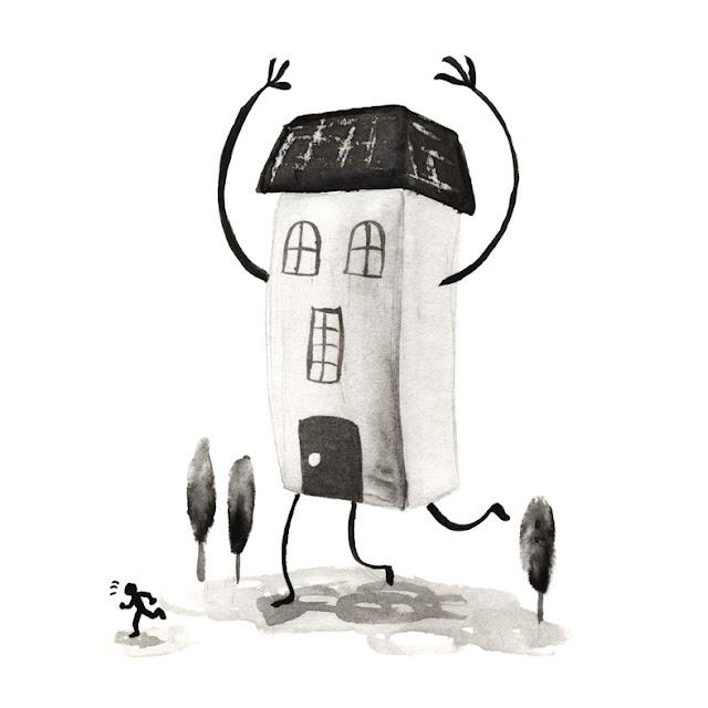 Inktober: dibujo a tinta, casa antropomorfa, casa con piernas