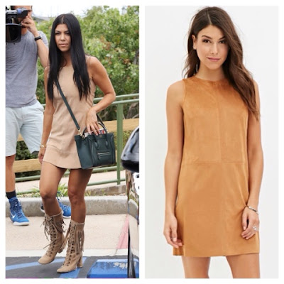 Kourtney Kardashian in Suede Shift Dress