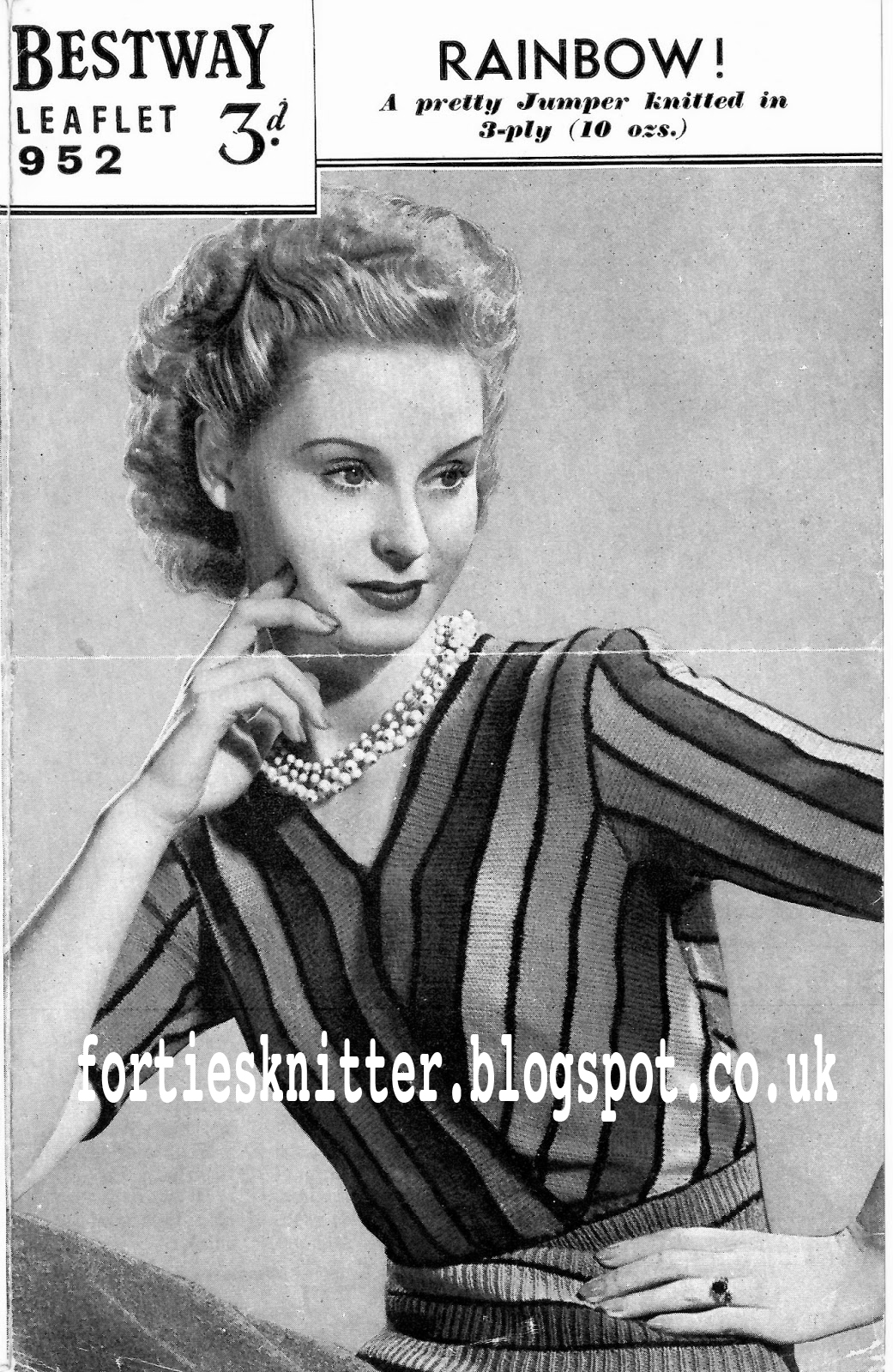 1940's Knitting - Bestway No.952 Rainbow Jumper free pattern