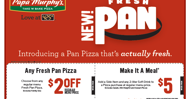 image relating to Papa Murphy's Coupon Printable referred to as Papa Murphys Printable Coupon codes August 2015