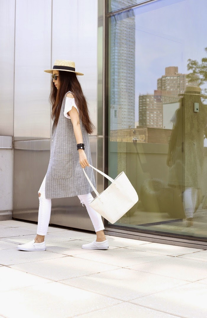 topshop sleeveless longline coat, 7fam cold shoulder tee, asos ripped white jeans, lack of color straw hat, vans slip on, gigi new york bag, karl largefeld watch, karen walker harvest sunglasses, fashion blog, new york fashion blog, street style, spring cool outfit