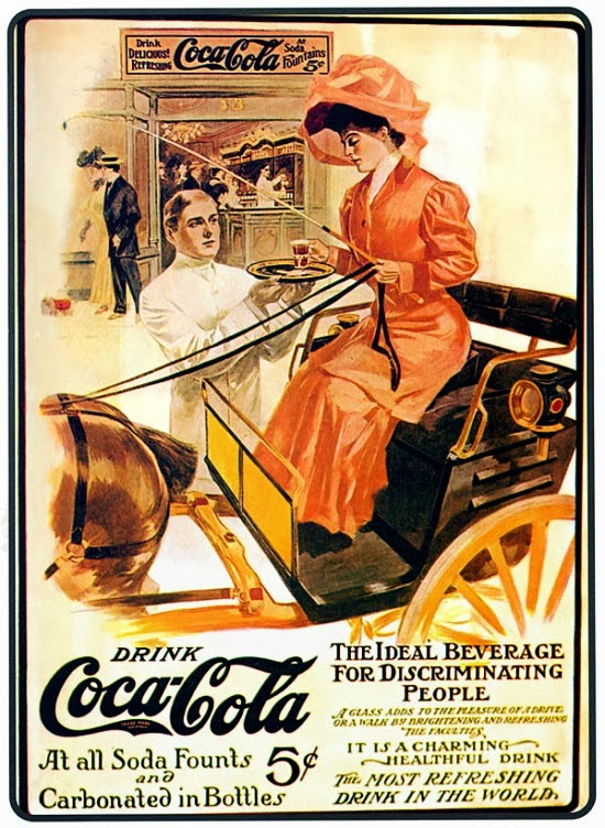 Propaganda antiga da Coca-Cola 1906. Comunicação clássica e coloquial.