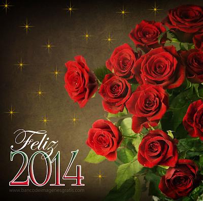 Rosas rojas con mensaje de feliz 2014 para compartir