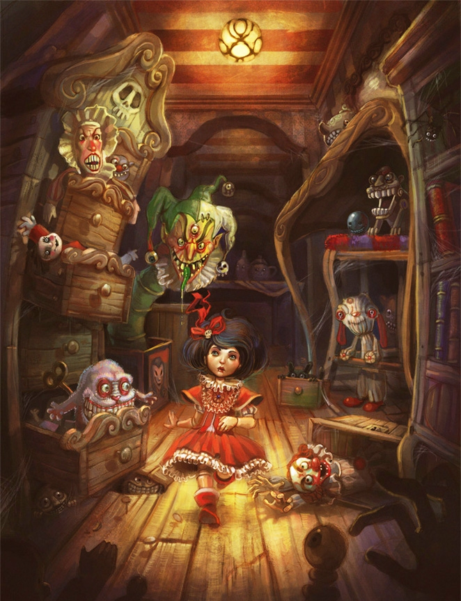 Female Doll Sits In Room Among Scary Puppets And Toys