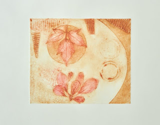 Collagraph print using pressed plant materials