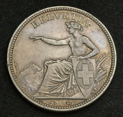 Switzerland Helvetia coins chf 5 Swiss Francs franken Silver coin