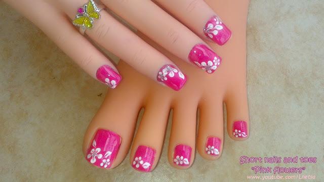 Lnetsa 39 S Nailart Toe Nail Design Short Nails Version Pink With Easy White Flowers