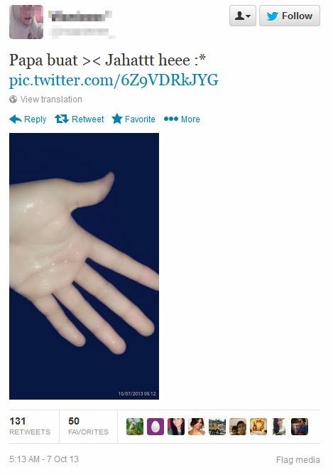 Pelajar perempuan bangga kongsi gambar air mani di Twitter