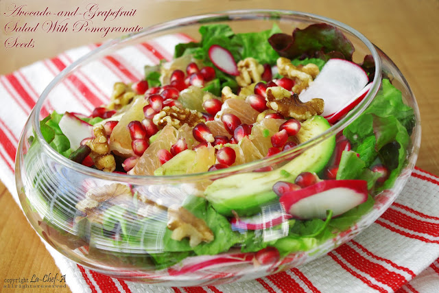 AVOCADO-AND-GRAPEFRUIT SALAD WITH POMEGRANATE SEEDS