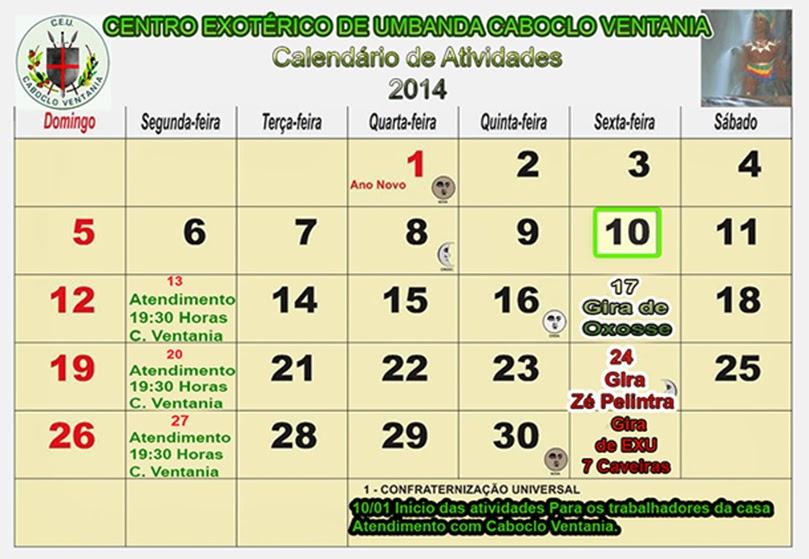 Calendário Litúrgico 2014