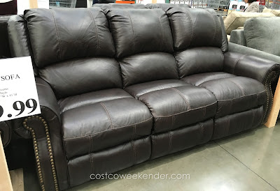 Berkline Leather Reclining Sofa – Top grain leather with high quality foam cushions