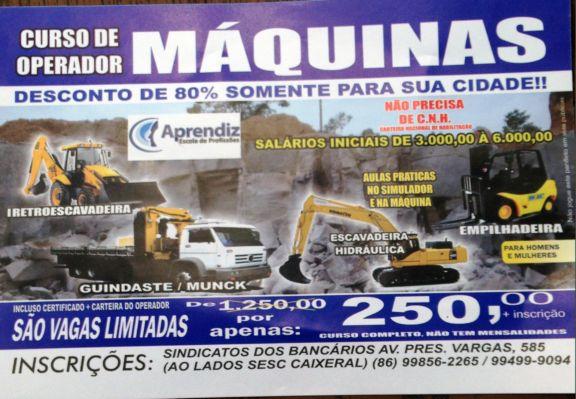 CURSO DE OPERADOR DE MÁQUINAS