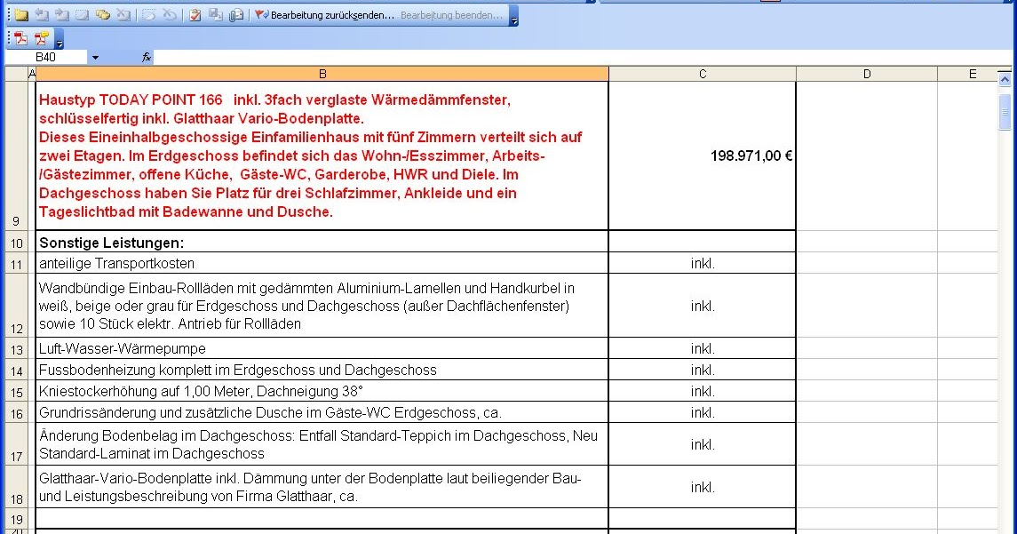 Kostenaufstellung Dan Wood Am 18 07 2012 Hausbau In Bobenheim Roxheim