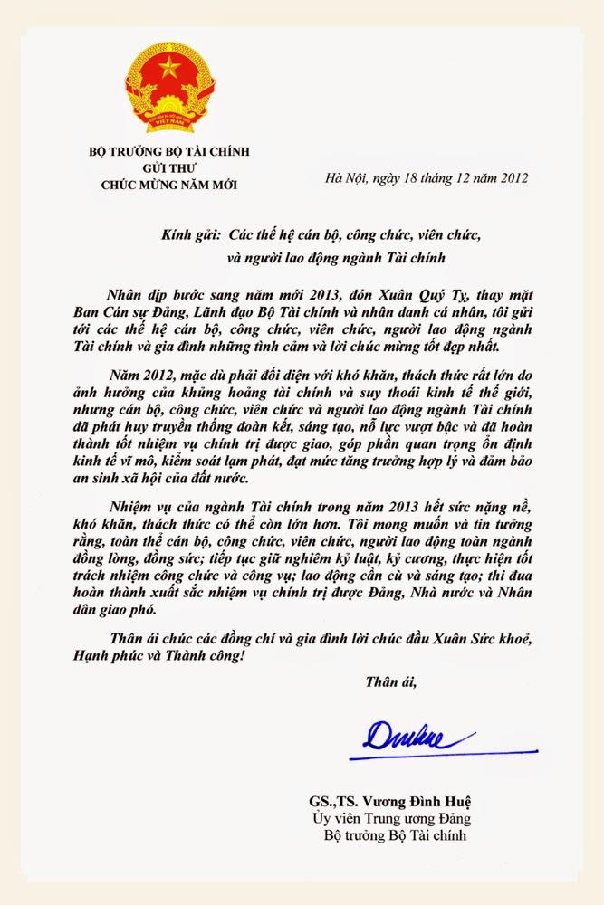 Bộ trưởng Vương Đình Huệ gửi thư chúc mừng các thế hệ cán bộ, công chức, viên chức, người lao động ngành Tài chính nhân dịp Xuân Quý Tỵ