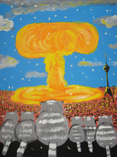 JCats are sitting and looking at nuclear explosion mushroom, second before death, drawings, funny pictures, comics