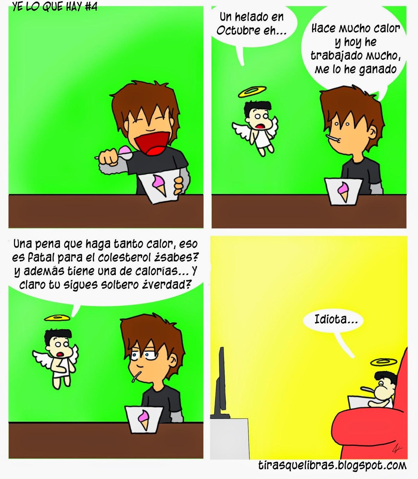 webcomic ye lo que hay, el angelito hace que Ismmael se sienta culpable por comerse un helado