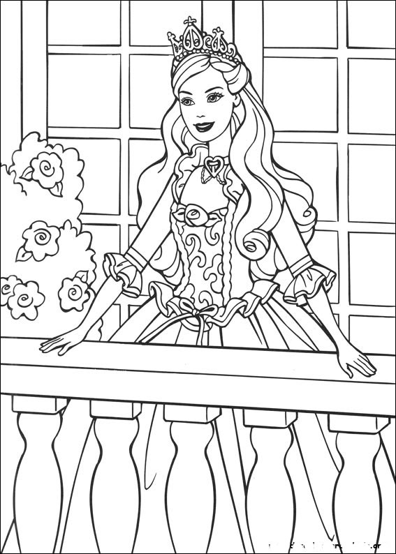 Desenhos Preto e Branco Barbie em vestidos de princesas Colorir