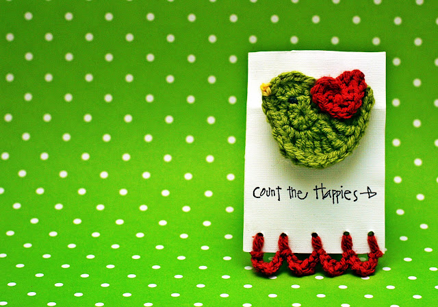 Crochet Bird Hair Clip in Green and Red