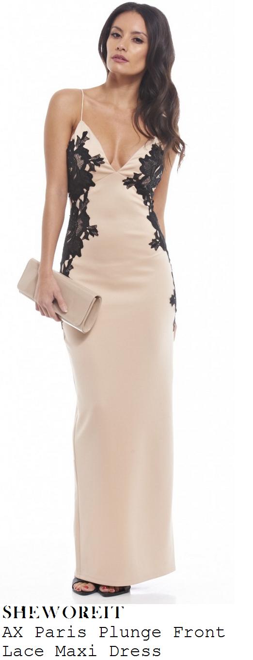 casey-batchelor-nude-pink-black-lace-detail-sleeveless-plunge-front-maxi-dress-insurgent