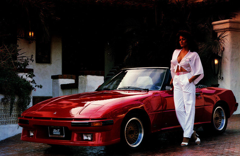 Mazda RX-7 Savanna FB SA22C stary japoński sportowy samochód, kultowy, kabriolet, convertible, cabrio, silnik Wankla, rotary, 日本車 スポーツカー クラシックカー マツダ