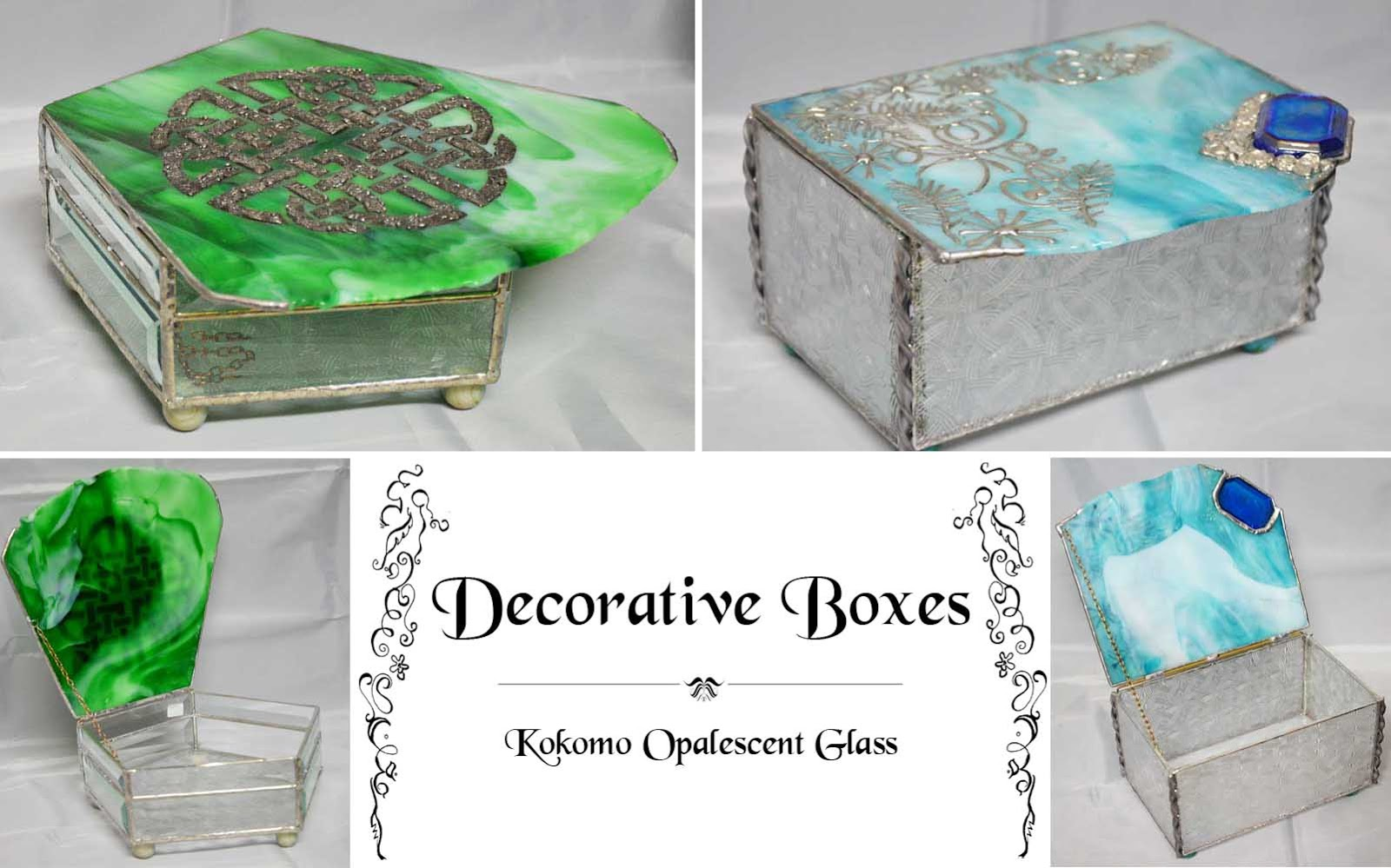Decorative boxes kokomo opalescent glass kog - Decorative storage boxes ...