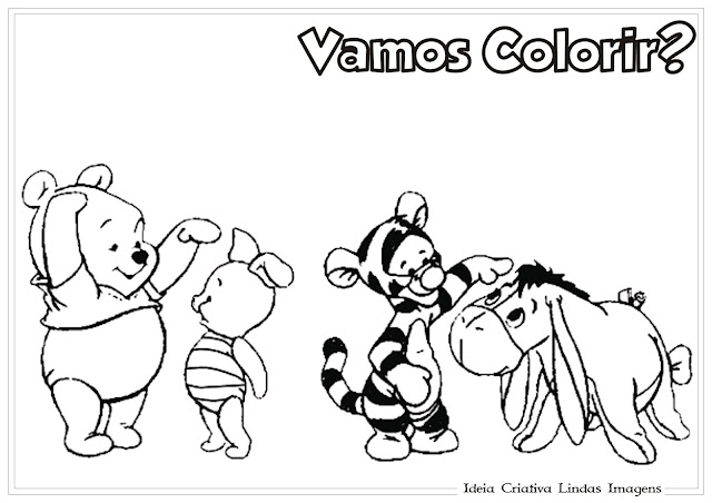 Turma do Pooh Baby para colorir