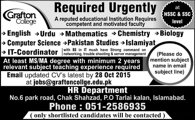 Teaching Jobs in Grafton College Islamabad
