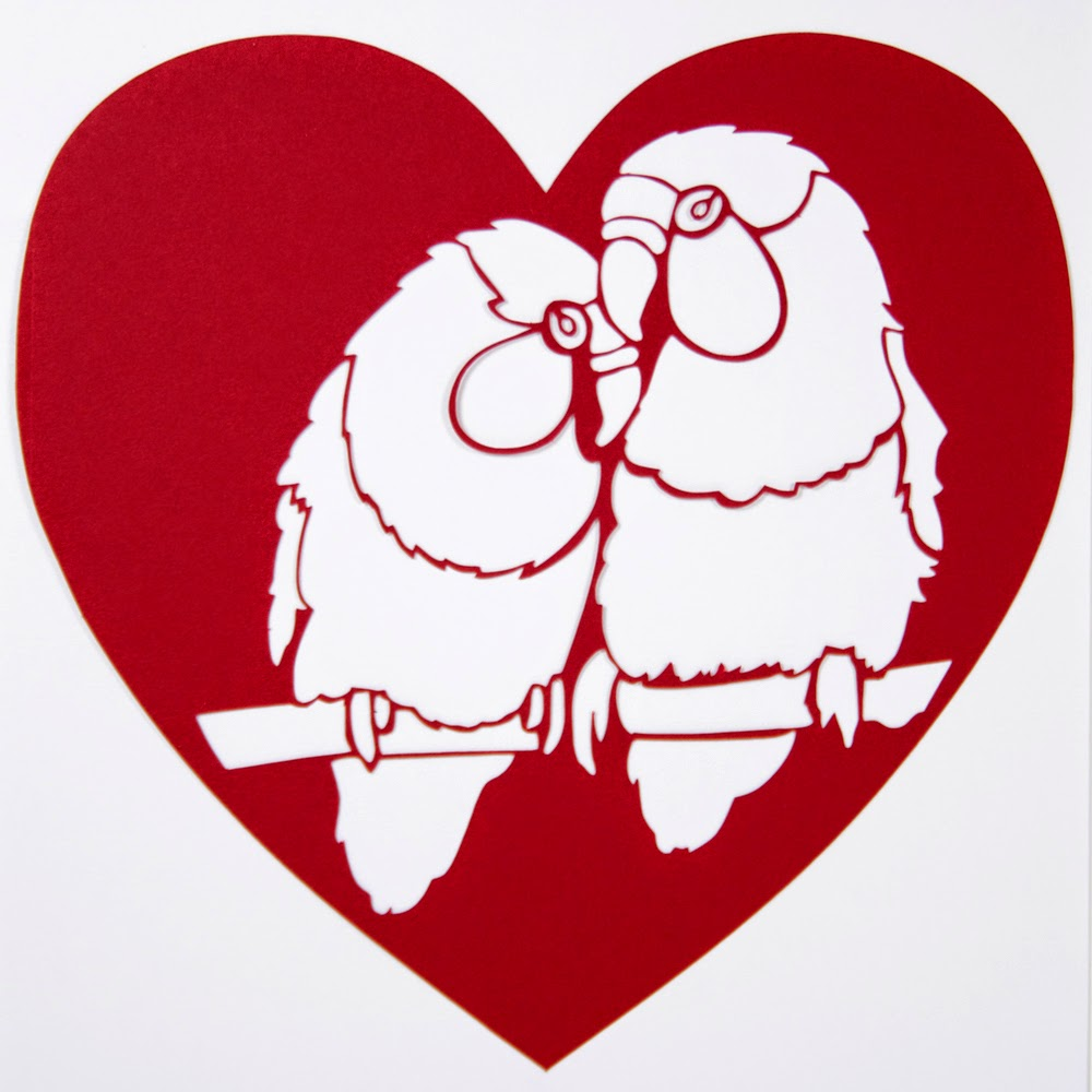 Red Lovebirds Papercut