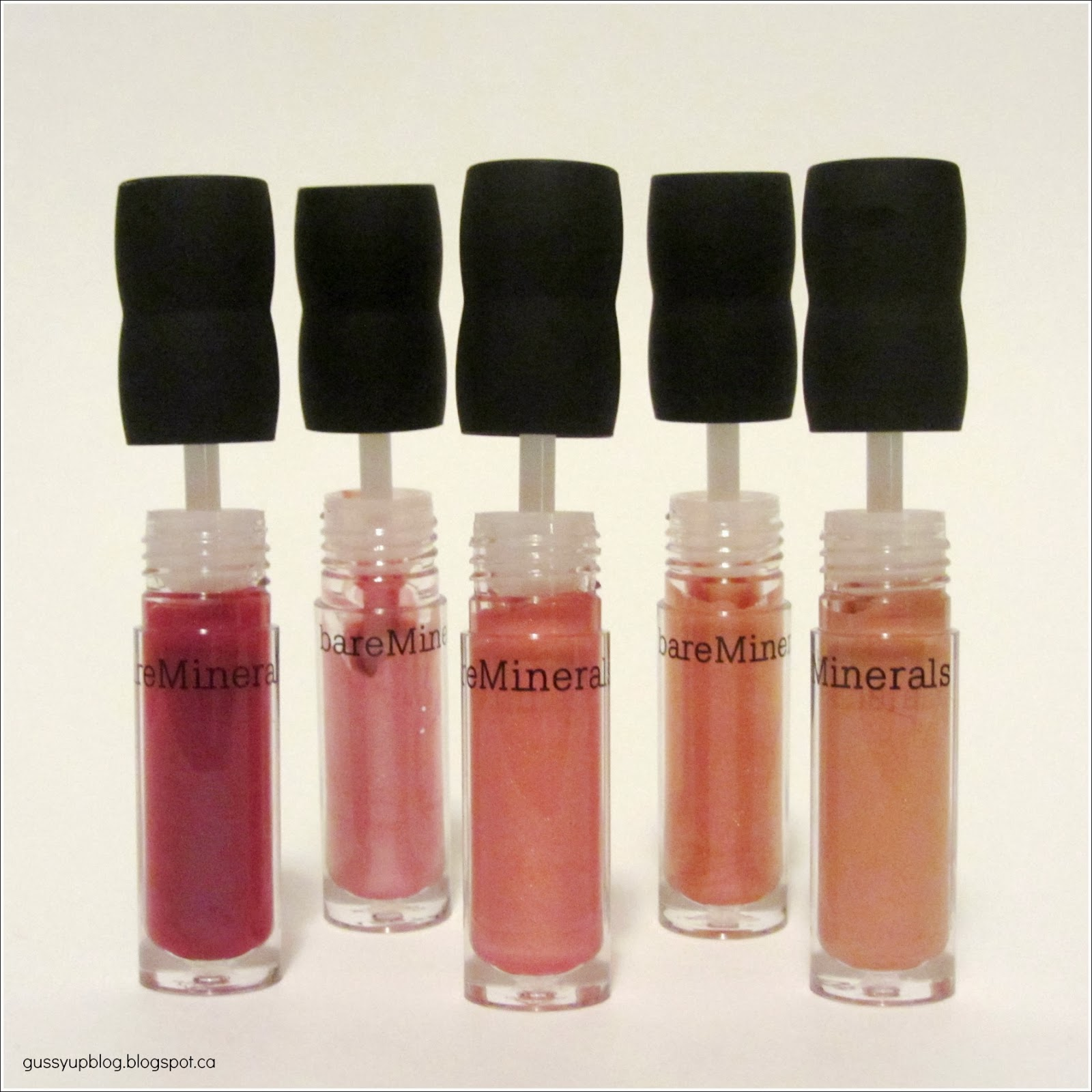 Review and Swatches: bareMinerals 100% Natural Mini Lip Gloss Set, Plumtini, Muffin Top, Pink Lemonade, Apricot Nectar and Sugar Cookie