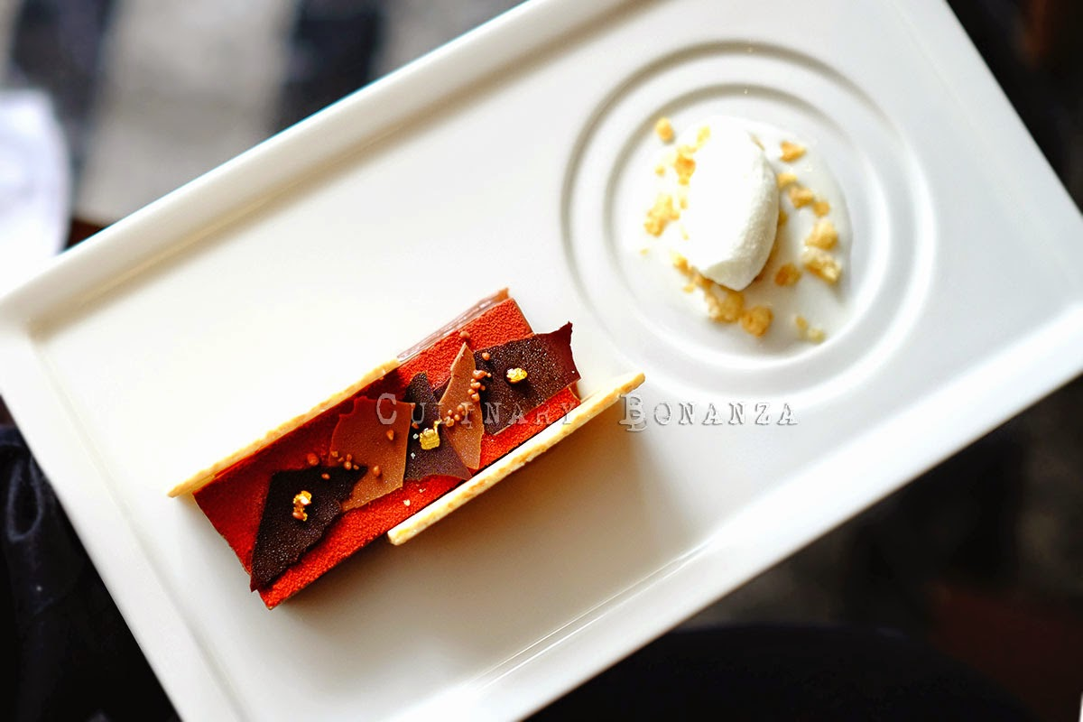 "Dessert ""Gold Bar"" caramel & milk chocolate mousse with coconut sorbet"