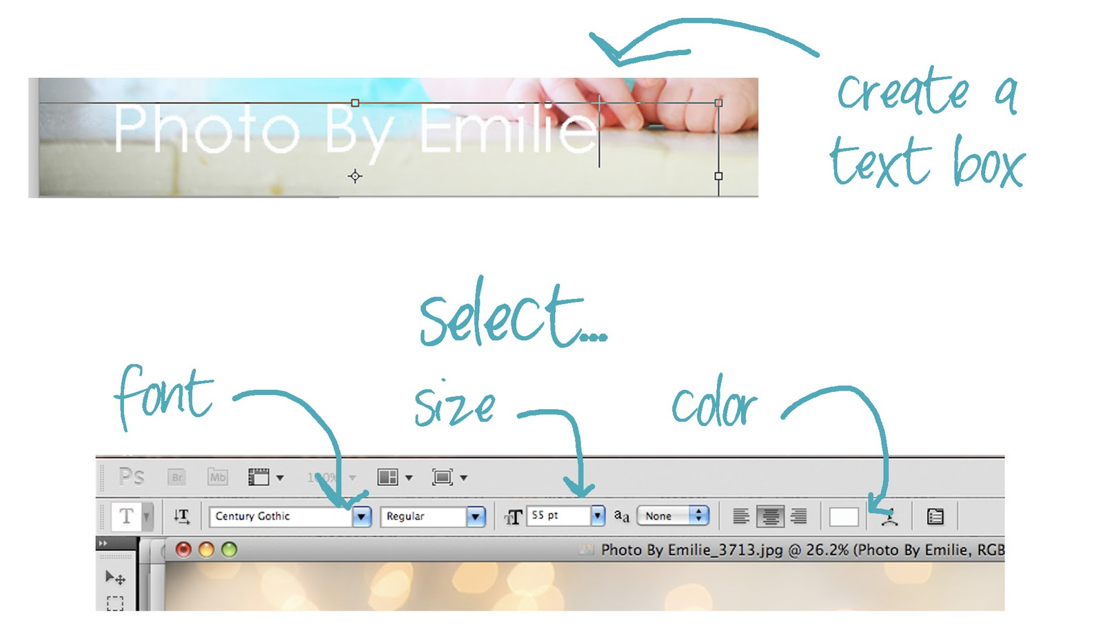 How to Add your Logo or Text to a Photo using Photoshop Adjust the font  size and color until it     s just the way you want it