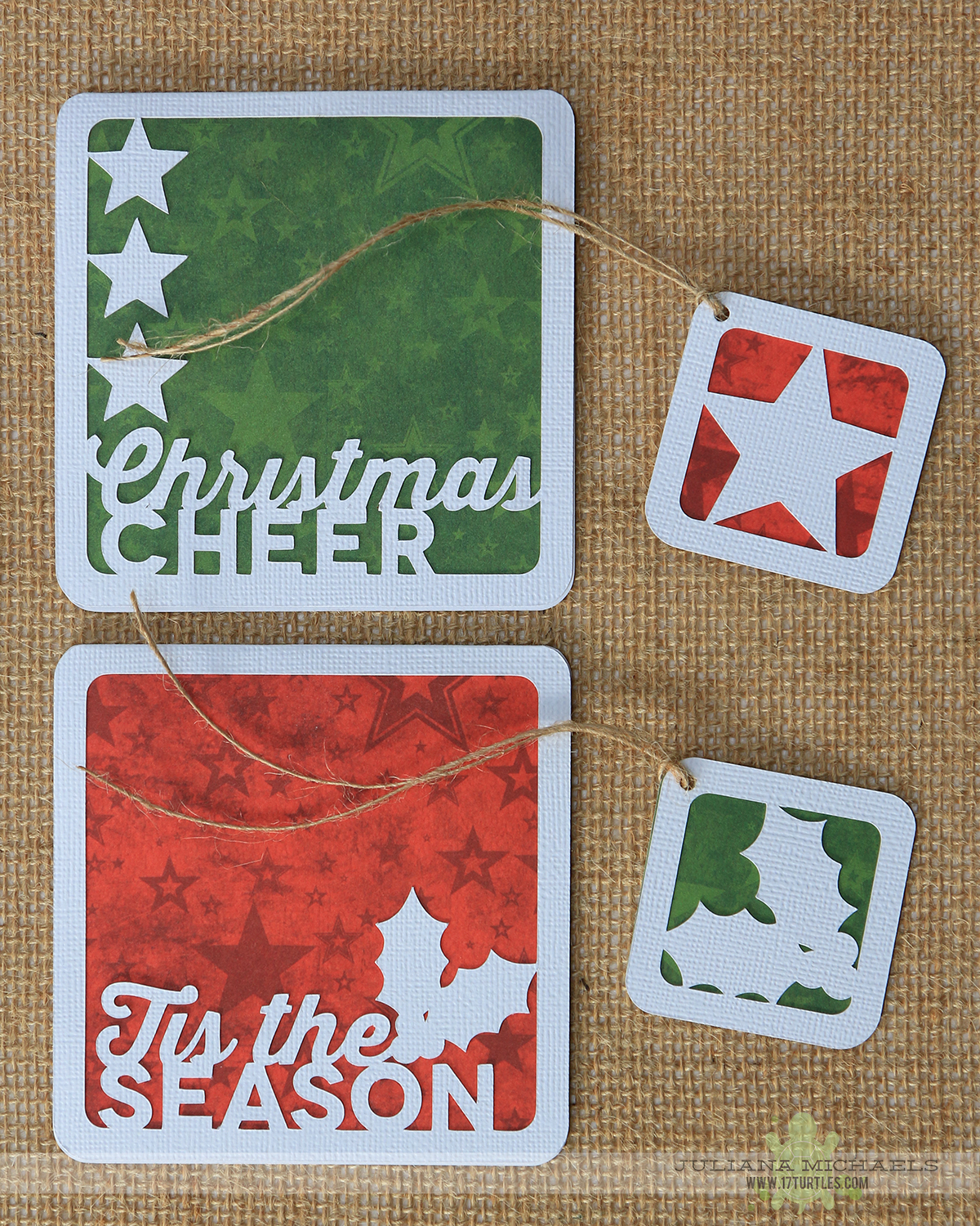 Quick & Easy Christmas Cards and Tags using Christmas Cheer & Winter Wishes Digital Cut File by 17turtles Juliana Michaels