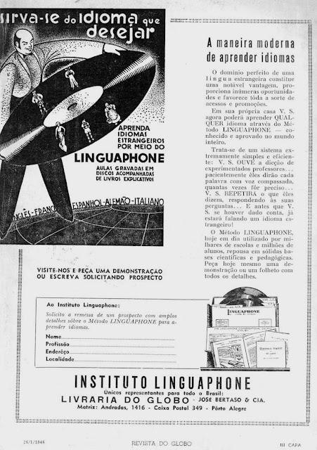 Propaganda do Instituto Linguaphone: aprendizado de idiomas por disco de vinil