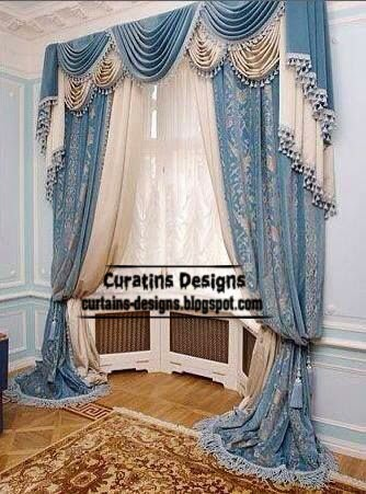 Classic curtains and drapes in blue tones for living room for Living room ideas blue curtains