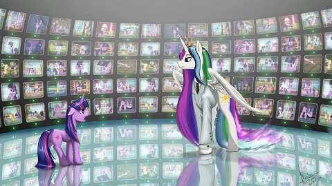 Originality straight over the edge, Princess Celestia is the Architect and Twilight Sparkle is Neo from The Matrix Reloaded