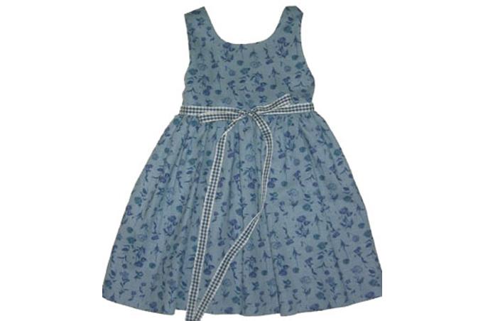 صورة فستان أزرق رمادي منقط للبنات الاطفال