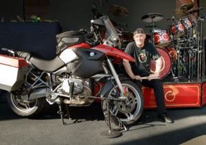 Neil Peart celeb on motorcycles