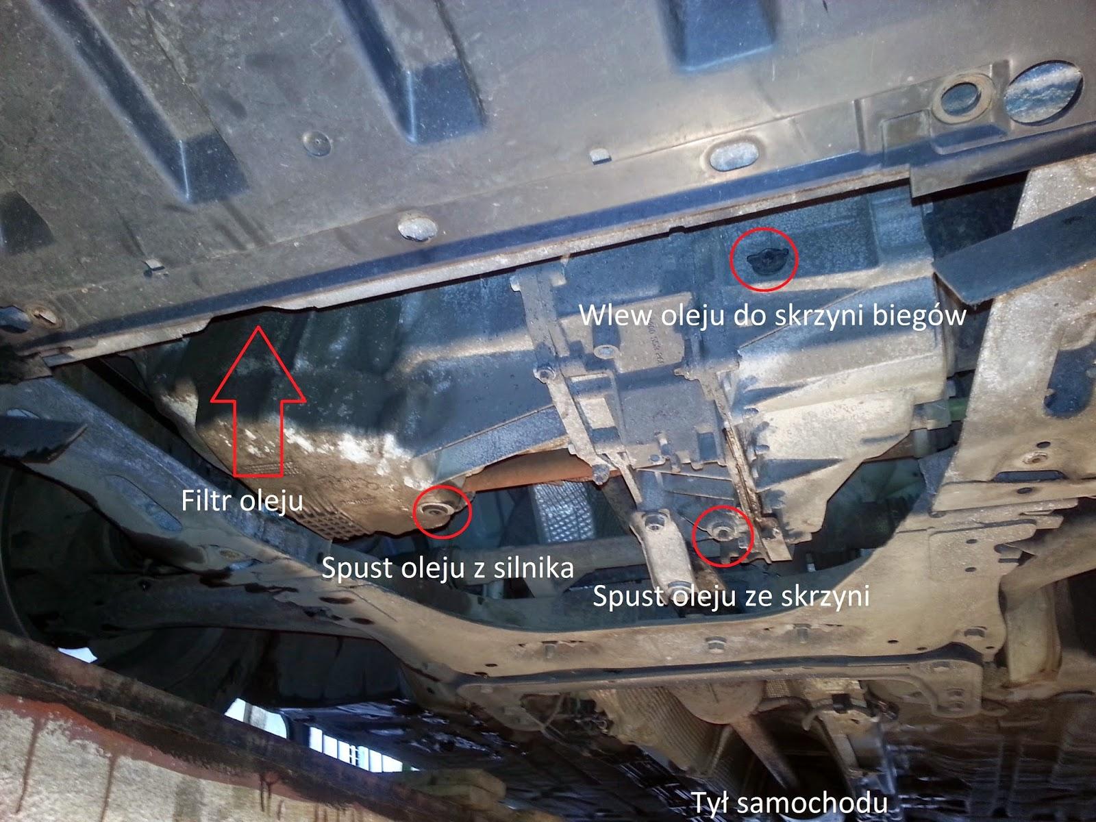 Położenie korków oleju silnikowego i skrzyni biegów megane II