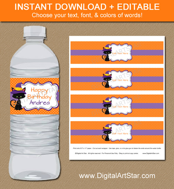 halloween cat birthday water bottle labels with text you can edit in Adobe Reader