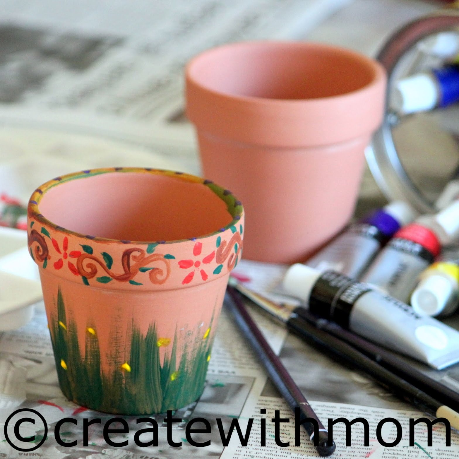 create with mom painting clay pots