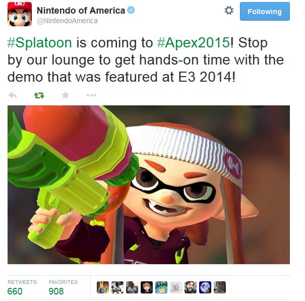 Nintendo of America announces Splatoon E3 2014 demo coming to Apex 2015 tournament