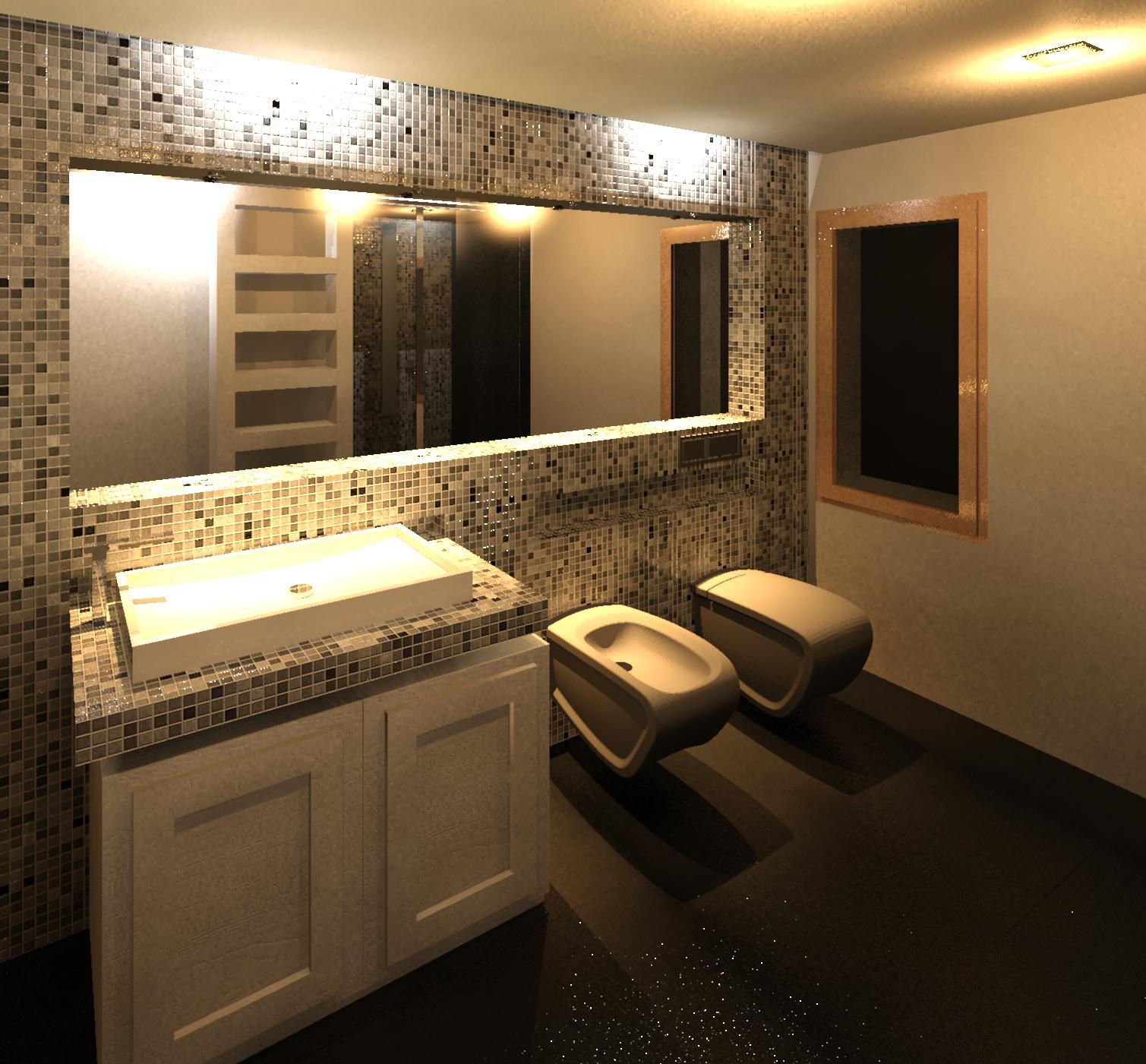 Geometra bagno moderno con rivestimento in mosaico for Progetti bagni moderni