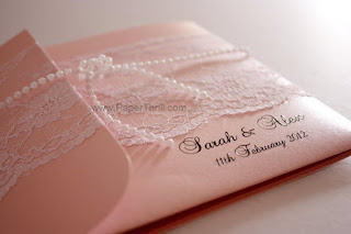 Embossed fonts pink lace wedding invitation card