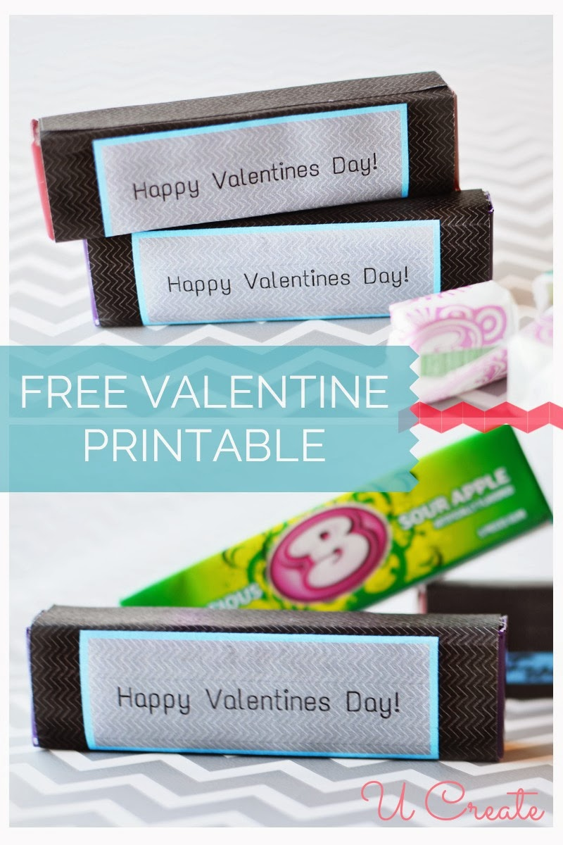 Free Printable: Valentine Gum Wrappers