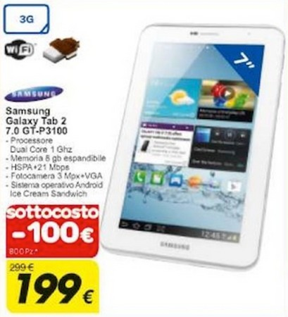Se volete un tablet 3g android come il Galaxy Tab 2 P3100 da Carrefour lo trovate a 199 euro