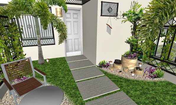 Dise o de un jard n peque o frente de una casa t pica de for Decoracion de jardines interiores pequenos