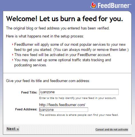 Mendaftarkan blog ke Feedburner