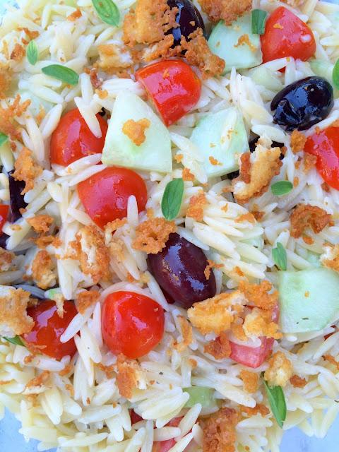 Greek Orzo Salad with Crispy Feta | www.jacolynmurphy.com