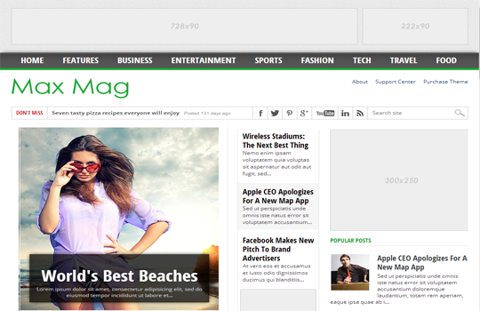 Max Mag Responsive Blogger Template 2 Column
