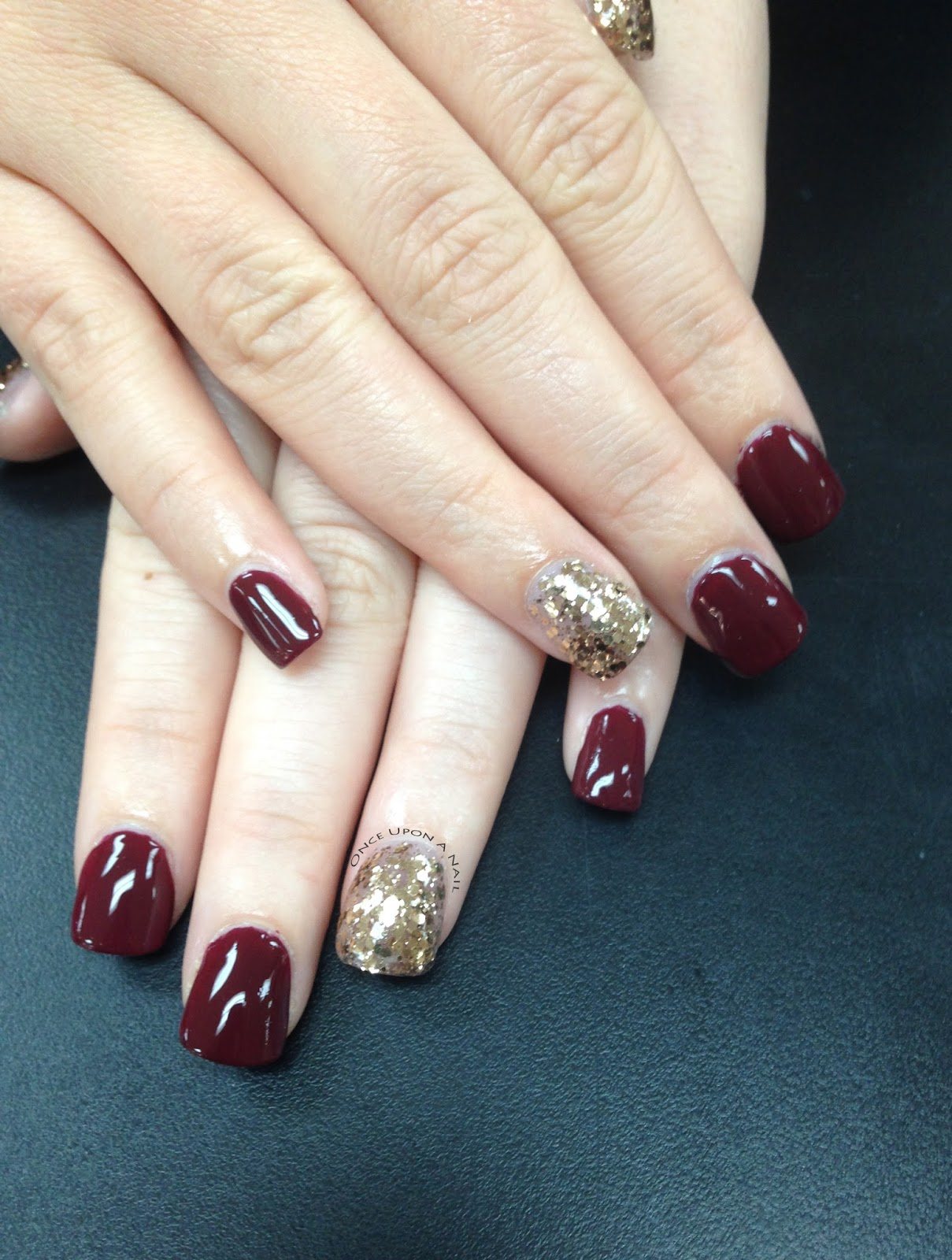 Once Upon A Nail: Gold Glitter Acrylics